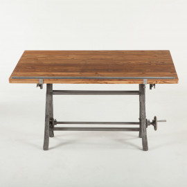 Rich Teak & Reclaimed Iron Drafting Table