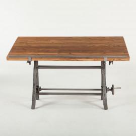 Rich Teak & Reclaimed Iron Drafting Table