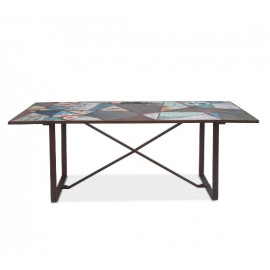 Colorful Recycled Iron & Reclaimed Teak Wood Dining Table