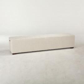 Off White Linen Long Profile Ottoman Bench