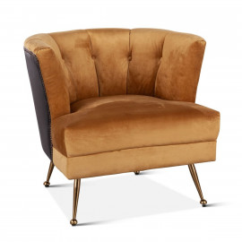 Chocolate Leather & Golden Velvet Curved Back Accent Chair