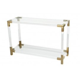 Acrylic Console Table Gold Metal Corners & Edges