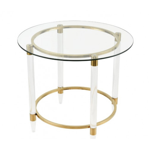 Acrylic Leg Round Accent Table Gold Base Glass Top
