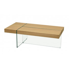 Eclectic Wood & Intersecting Glass Rectangle Coffee Table