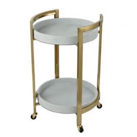 Gold Metal & Faux White Leather Tray Circular Bar Cart