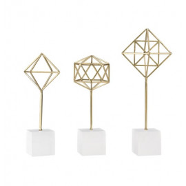 Gold Geometric Sculptures on Stands Set of 3