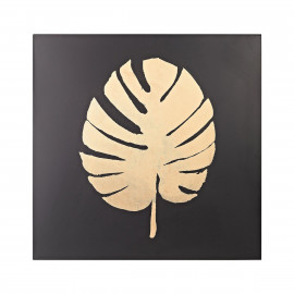 Metallic Gold Palm Leaf on Black Metal Wall Art