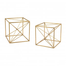 Gold Cubes Tabletop Decor Set of 2