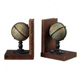 Old World Globe Atlas Bookends