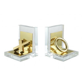 Gold X & O Clear Crystal Frame Bookends