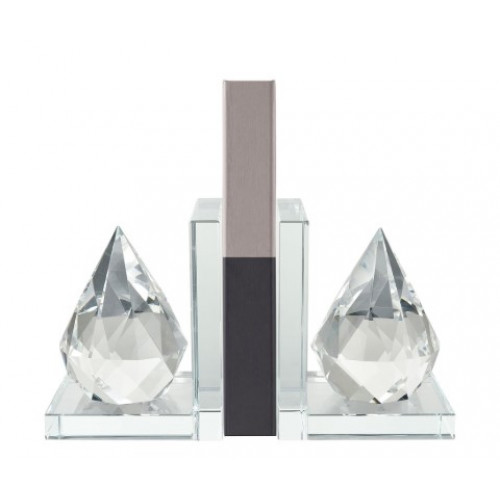 Clear Crystal Teardrop Bookends