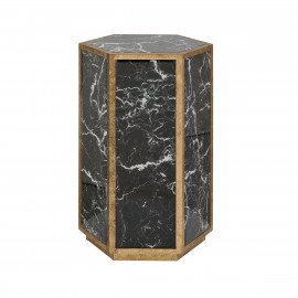 Black Glass Marble Look Hexagon Accent Side Table