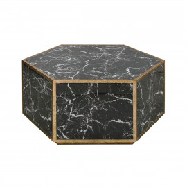 Black Glass Marble Look Hexagon Cocktail Table