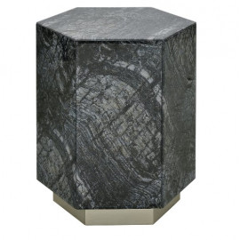Black Glass Stone Look Hexagon Accent Side Table