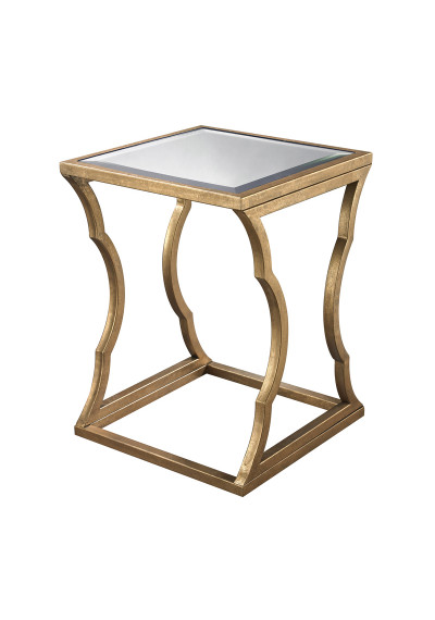 Gold Metal Side Table Mirror Top