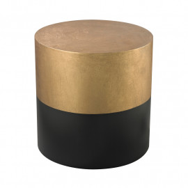 Black & Gold Round Wood Accent Table