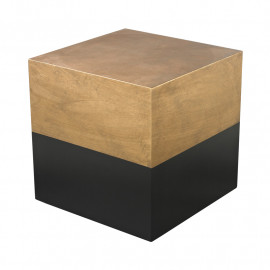 Black & Gold Cube Wood Accent Table