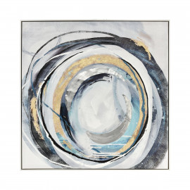 Contemporary Swirls in Gold Grey Black Canvas Framed Wall Art