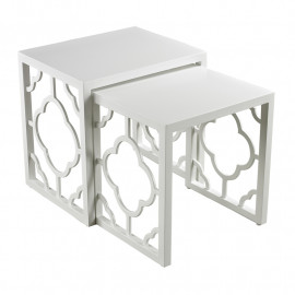 Glossy White Quatrefoil Nesting Tables