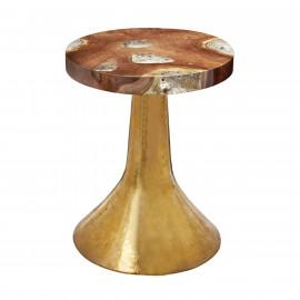 Teak Top & Hammered Gold Metal Round Side Table