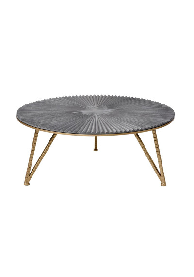 Pleated Top Gold & Silver Round Cocktail Table