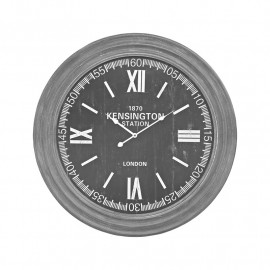 Rustic Grey Frame Black Face Wall Clock