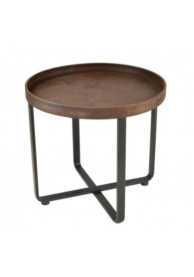 Rustic Copper & Black Industrial Accent Side Table