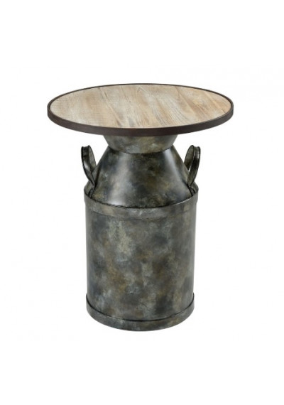 Farmhouse Industrial Chic Metal & Wood Accent Side Table