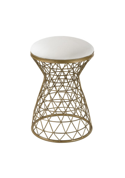 Gold Wire Mesh Stool Cream Linen Seat