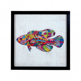 Colorful Painted Fish Framed Wall Decor
