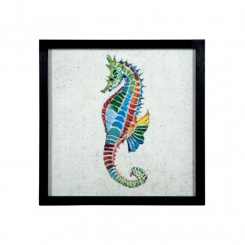 Colorful Painted Seahorse Framed Wall Decor