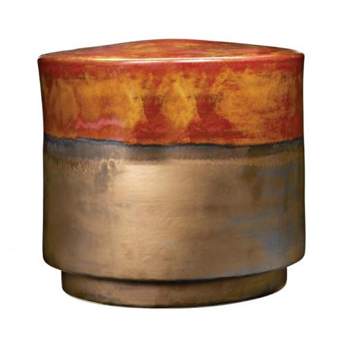 Gold & Rustic Copper Ceramic Garden Stool Table