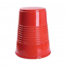 Red Ceramic Earthenware Thimble Garden Stool Table