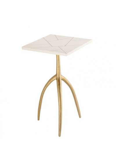 Gold Leg & White Bone Top Eclectic Accent Table
