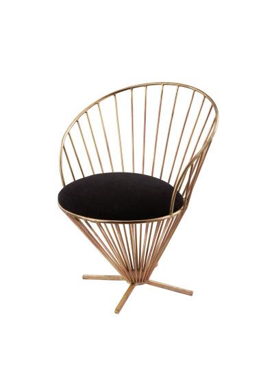 Gold Iron Framed Chair Black Velvet Cushion