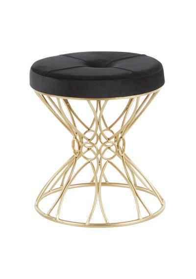 Gold Geometric Twirl Metal Base Black Velvet Seat Footstool Seat
