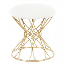 Gold Geometric Twirl Metal Base White Fluffy Seat Footstool Seat