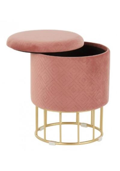 Round Pink Velvet Gold Cage Base Storage Ottoman Footstool Seat