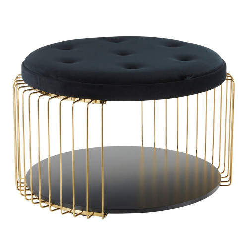 Black Velvet Button Tufted Gold Cage Body Cocktail Table with Shelf