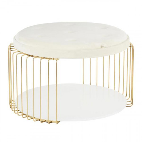 White Velvet Button Tufted Gold Cage Body Cocktail Table with Shelf