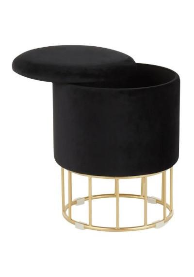 Round Black Velvet Gold Cage Base Storage Ottoman Footstool Seat