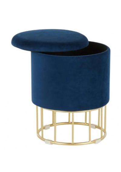 Round Blue Velvet Gold Cage Base Storage Ottoman Footstool Seat