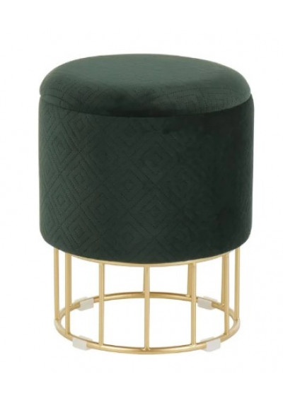 Round Green Velvet Gold Cage Base Storage Ottoman Footstool Seat