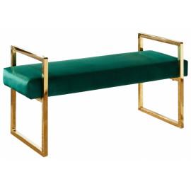 Forest Green Velvet Bench Gold Legs