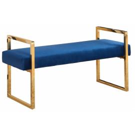 Blue Velvet Bench Gold Legs