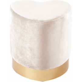 Cream Heart Shaped Velvet Ottoman Footstool Gold Base