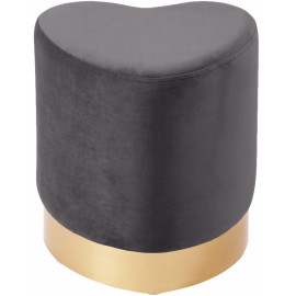 Grey Heart Shaped Velvet Ottoman Footstool Gold Base