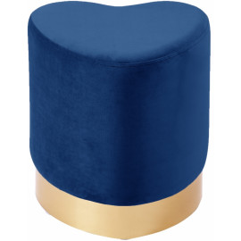 Blue Heart Shaped Velvet Ottoman Footstool Gold Base