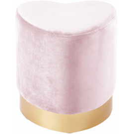 Blush Pink Heart Shaped Velvet Ottoman Footstool Gold Base