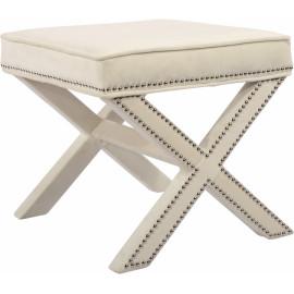 X Frame Cream Velvet Ottoman Footstool